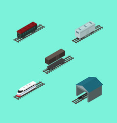 Isometric transport set of depot railroad vector