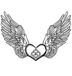 line art of angel wings and heart vector image vector image