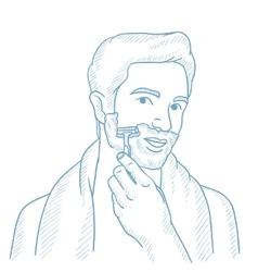 Man shaving his face sketch vector