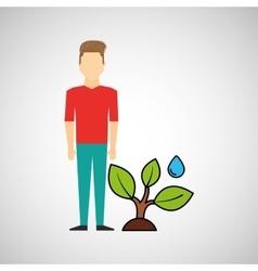 man symbol environment eco tree water icon design vector image