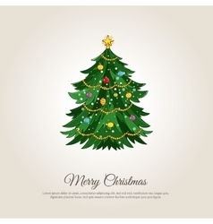 Merry Christmas Banner with Decorated Xmas Tree vector image vector image