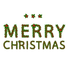 Merry christmas made from holly tree for your vector image