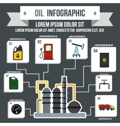 Oil Industry Infographic flat style vector image vector image
