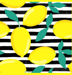 seamless background lemons with leaves on black vector image