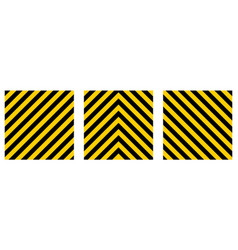 set warning striped rectangular background vector image vector image