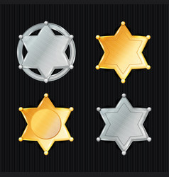 Sheriff badge star set different types vector
