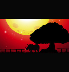 Silhouette rhino in the park vector