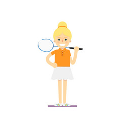 Smiling woman tennis player with racket vector