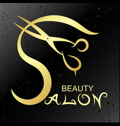 Symbol for beauty salon gold vector