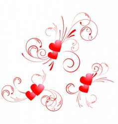 valentine hearts swirl vector image vector image