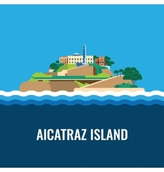 Alcatraz island view from the sea vector