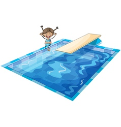 A girl and swimming tank vector