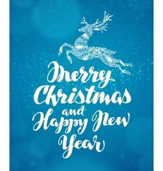 Christmas greeting card Decorative xmas reindeer vector image
