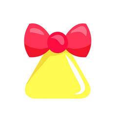 Christmas big yellow bell with red ribbon vector