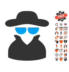 spy icon with valentine bonus vector image