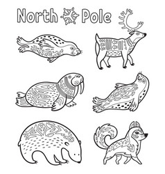 Outline arctic animals set for coloring page vector