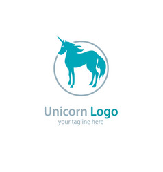 logo with a unicorn on a white background vector image