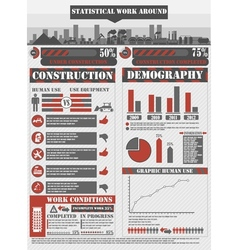 Infographic work red vector