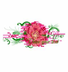 Digital flower banner vector