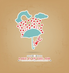 Valentines day romantic with umbrella greeting vector