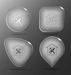 Workshop glass buttons vector