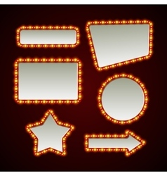 Set of retro light frames vector