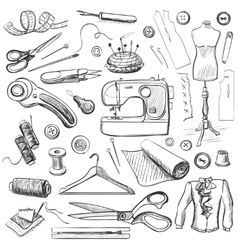 Hand drawn sewing icons set vector