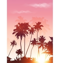 Pink sunset palms silhouettes poster background vector