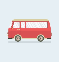 Flat design red van vector