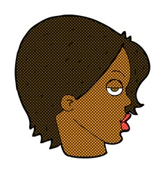 Comic cartoon woman raising eyebrow vector