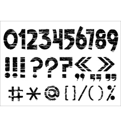 Numbers 0-9 and punctuation marks on grunge style vector
