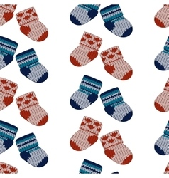 Little knitting socks seamless pattern vector