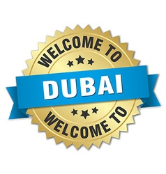 Dubai 3d gold badge with blue ribbon vector