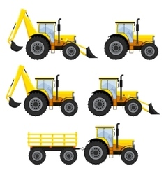 Set of vehicles and tractors vector