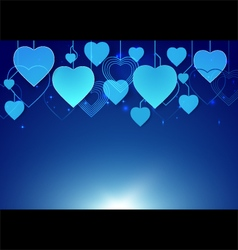 Abstract heart shape hang in dark blue background vector