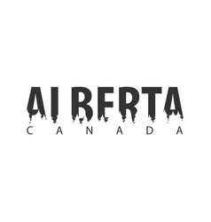 Alberta canada text or labels with silhouette of vector
