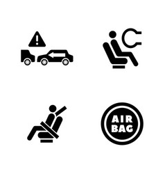 Auto protect simple related icons vector