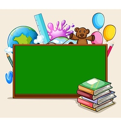 Blackboard and school objects vector image