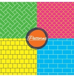 Bricks tile roof and mosaic seamless textures vector