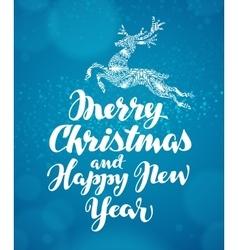 Christmas greeting card Decorative xmas reindeer vector image vector image