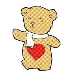 Comic cartoon teddy bear with love heart vector