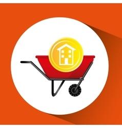 construction remodel wheelbarrow icon graphic vector image