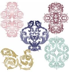 Damask pattern elements set vector image