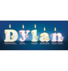 Dylan written with burning candles vector