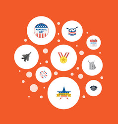 Flat icons medallion identity hat and other vector