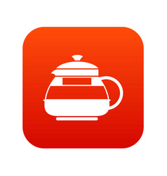 glass teapot icon digital red vector image