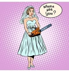Halloween bride black humor blood wedding vector