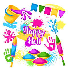 Happy holi set of elements buckets with paint vector