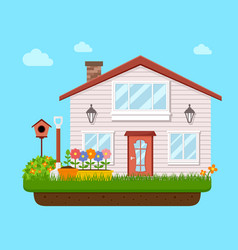 House backyard with garden flower vector
