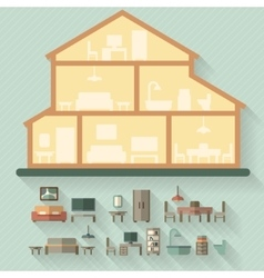 House in cut Detailed modern house interior vector image